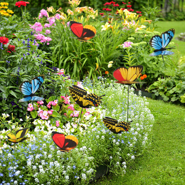 24x Artificial Butterfly Stakes Outdoor Yard Planter Flower Pot .