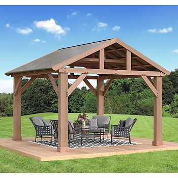 14' x 12' Cedar Pavilion with Aluminum Ro