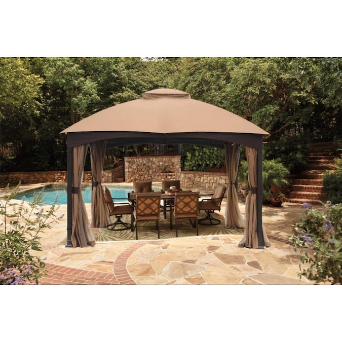 allen + roth Brown Metal Rectangle Screened Gazebo (Exterior .