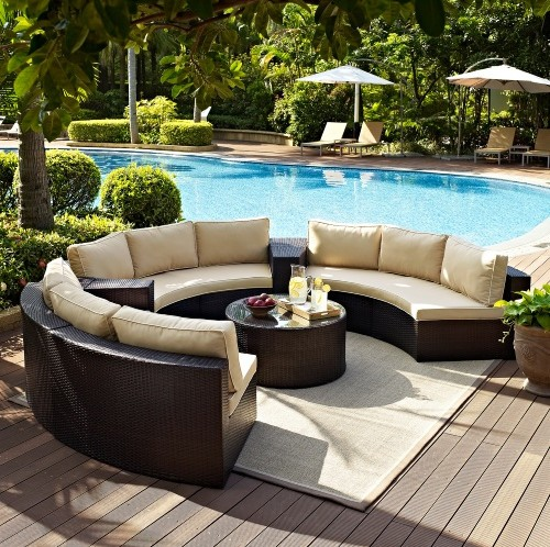 Factory direct sale Outdoor Lounge Furniture 6 Piece Wicker Curved .