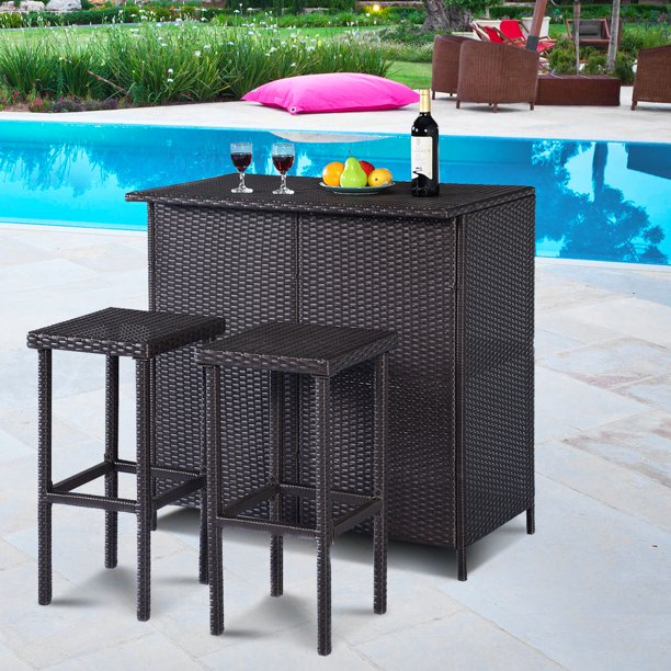 Costway 3-Piece Wicker Outdoor Patio Bar Set with Table & 2 Stools .