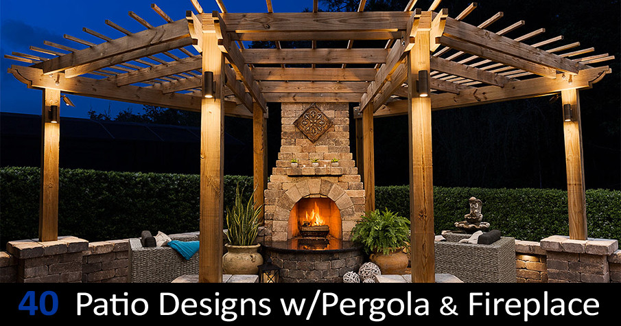 40 Best Patio Designs with Pergola and Fireplace - Covered Outdoor .