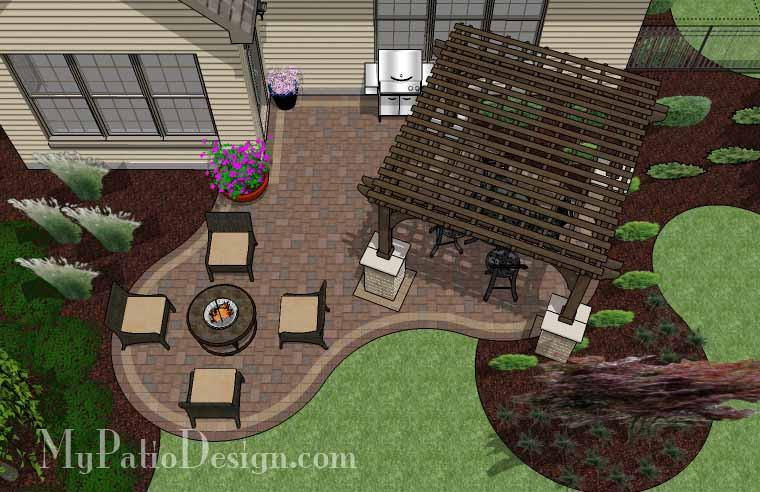 Small Outdoor Living Patio Design with Pergola | Download Plan .