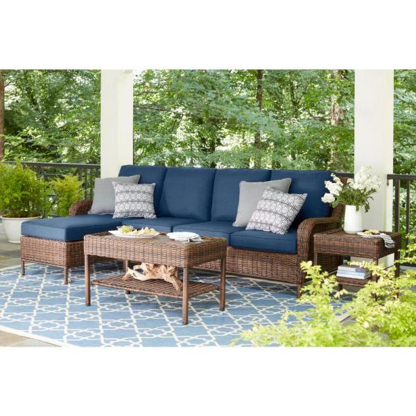 Hampton Bay Cambridge 5-Piece Brown Wicker Outdoor Patio Sectional .
