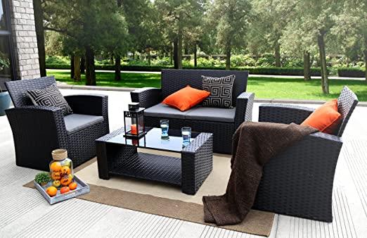 Amazon.com: Baner Garden 4 Pieces Outdoor Furniture Complete Patio .