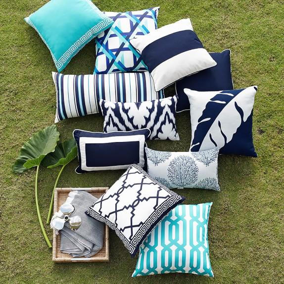 Greek Key Embroidered Outdoor Pillow - Aruba | Williams Sono