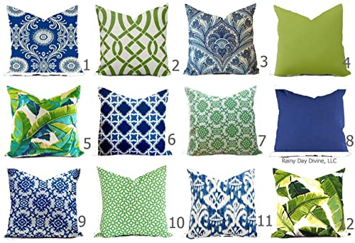 Amazon.com: Outdoor Pillow Cover Cobalt Royal Blue Navy Green Palm .