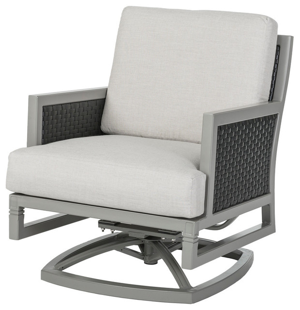 Drake Woven Swivel Rocking Lounge Chair - Transitional - Outdoor .