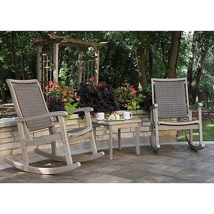 Outdoor Interiors® 3-Piece Eucalyptus & Wicker Rocking Chair Set .