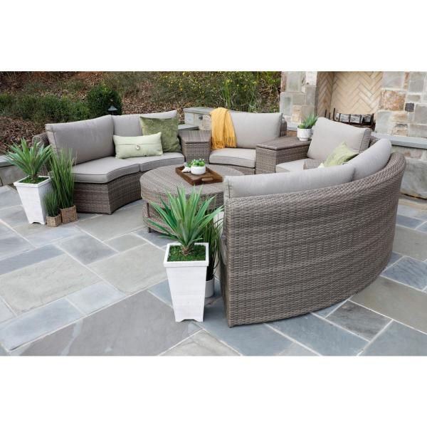 Canopy Cyprus 8-Piece Resin Wicker Outdoor Sectional with .