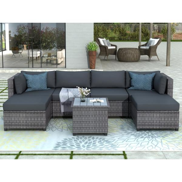 Harper & Bright Designs Gray 7-Piece Wicker Outdoor Sectional Set .