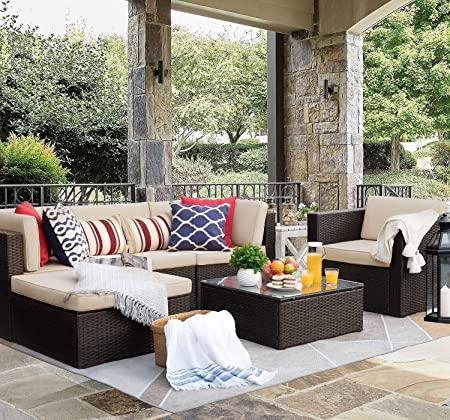 Amazon.com: Flamaker 6 Pieces Patio Furniture Set Outdoor .