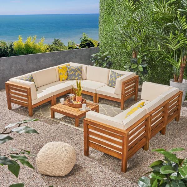 Noble House Jonah Teak Finish 9-Piece Wood Outdoor Sectional Sofa .