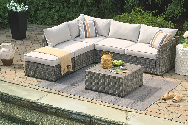Cherry Point 4-piece Outdoor Sectional Set | Ashley Furniture .