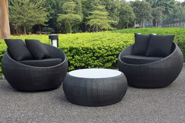 Cocoon Swivel 3 Piece Outdoor Balcony Setting Black/Black | Small .