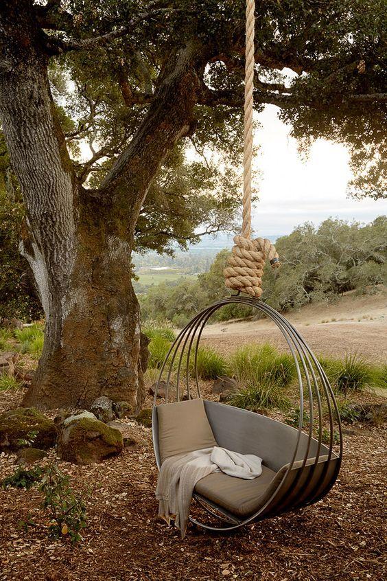 10 Amazing Outdoor Swing Bed Designs | Mediterranean landscaping .