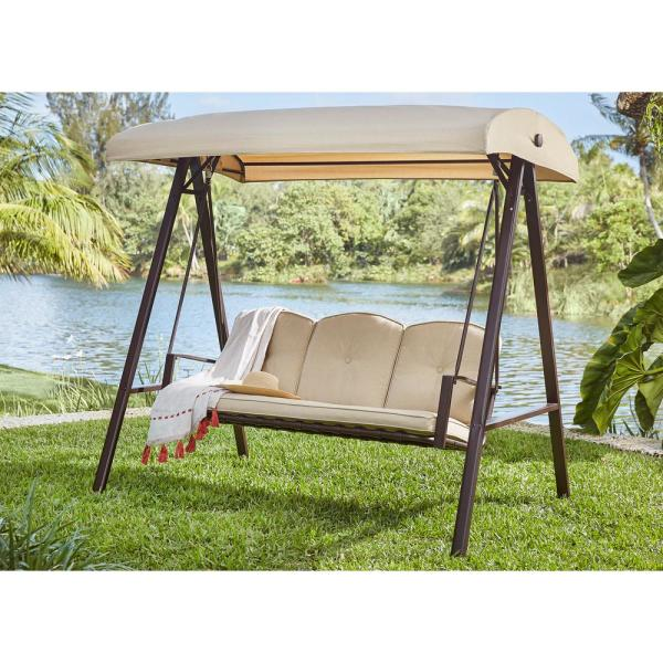 Hampton Bay Cunningham 3-Person Metal Outdoor Patio Swing with .