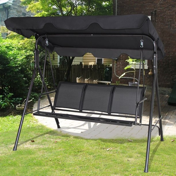 Gymax Black Outdoor Swing Canopy Patio Swing Chair 3 Person Canopy .
