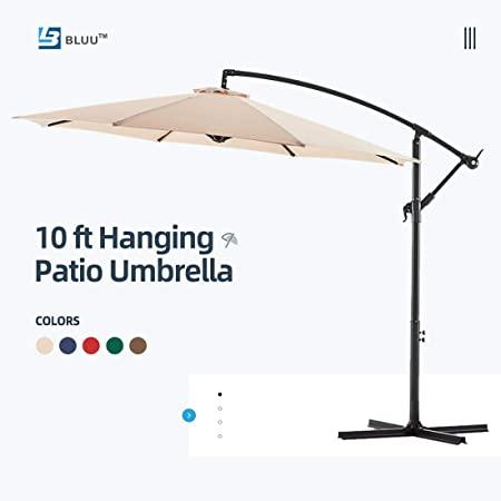 Amazon.com : Bluu 10ft Patio Offset Umbrella Cantilever Umbrella .