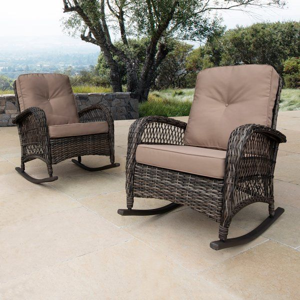 Yara Rocking Chair with Cushions | Outdoor wicker rocking chairs .