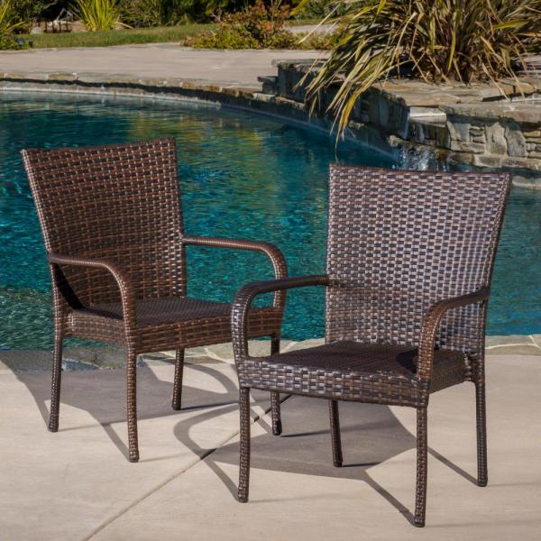 Noble House Multi Brown Stackable Wicker Outdoor Dining Chairs .