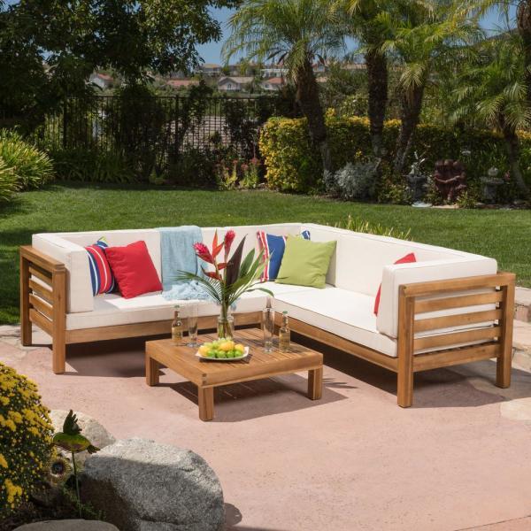 Noble House Oana Teak Finish 4-Piece Wood Outdoor Sectional Set .