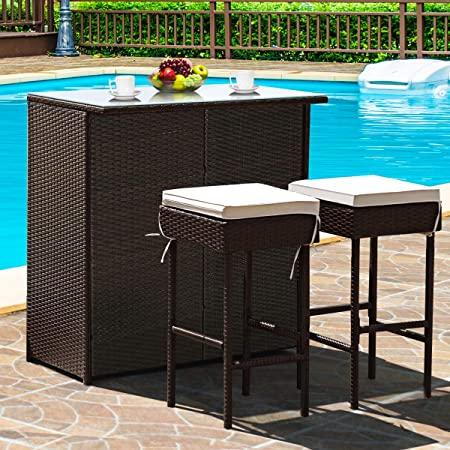 Amazon.com: Tangkula Patio Bar Set, 3 Piece Outdoor Rattan Wicker .