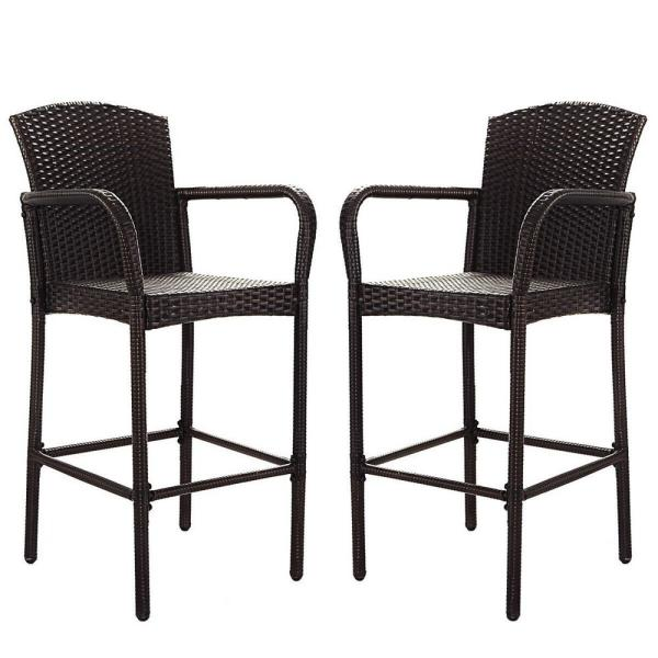 Costway Rattan Wicker Outdoor Patio Bar Stool Armrest Dining High .