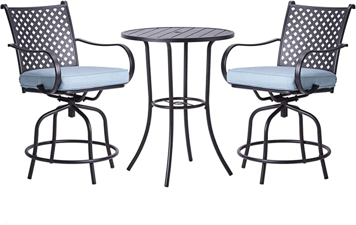 Amazon.com : Peaktop PT-OF0001 3 Piece Swivel Bar Height Stools .