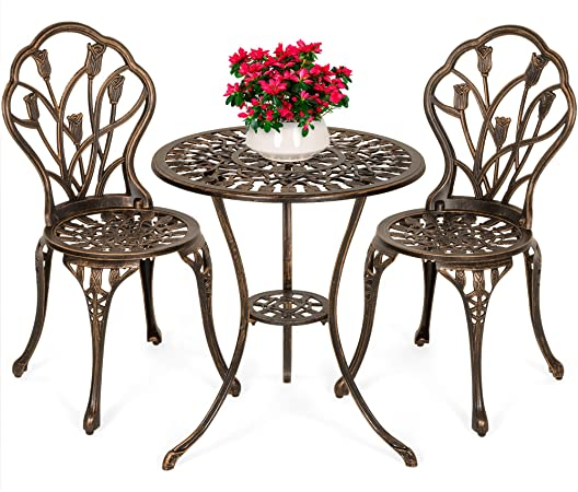 Amazon.com: Best Choice Products 3-Piece Cast Aluminum Patio .