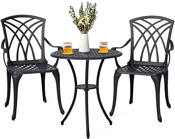 Amazon.com: Nuu Garden Outdoor 3 Piece Cast Aluminum Patio Bistro .