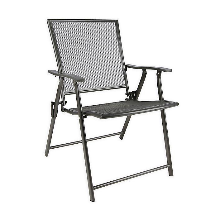 Folding Mesh Patio Chair in Black | Bed Bath & Beyo
