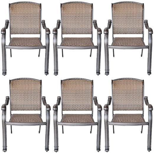 Amazon.com: Patio Chairs Set of 6 Santa Clara Cast Aluminum .