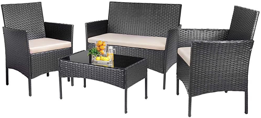 Amazon.com: KaiMeng Patio Furniture Sets Outdoor 4 Pieces Indoor .