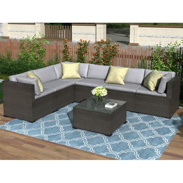 Clearance! Patio Sofa Set, 7 Piece Outdoor Furniture Set, PE .