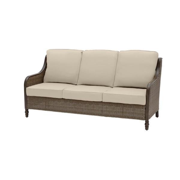 Hampton Bay Windsor Brown Wicker Outdoor Patio Sofa with .