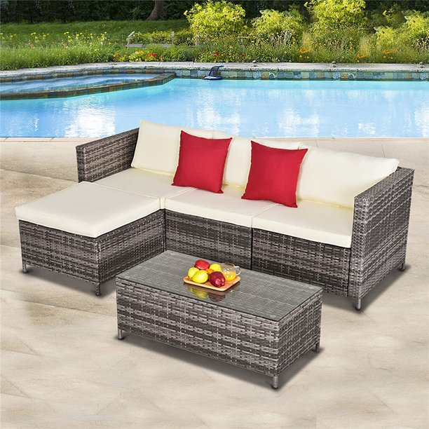 5 Pieces Outdoor Patio Furniture Set, All-Weather Outdoor Small .