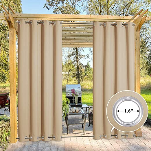 Amazon.com: NICETOWN Outdoor Patio Curtains Windproof Double .