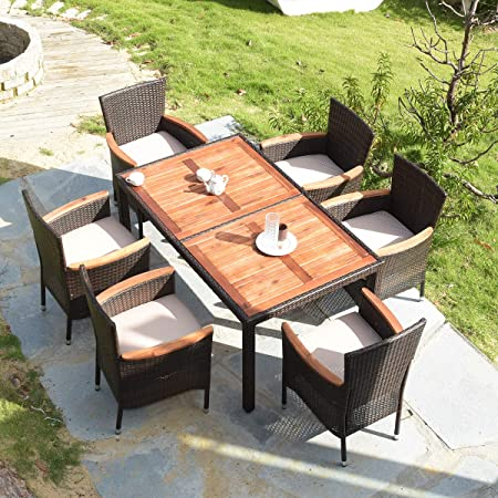 Amazon.com: Tangkula 7 PCS Outdoor Patio Dining Set, Garden Dining .