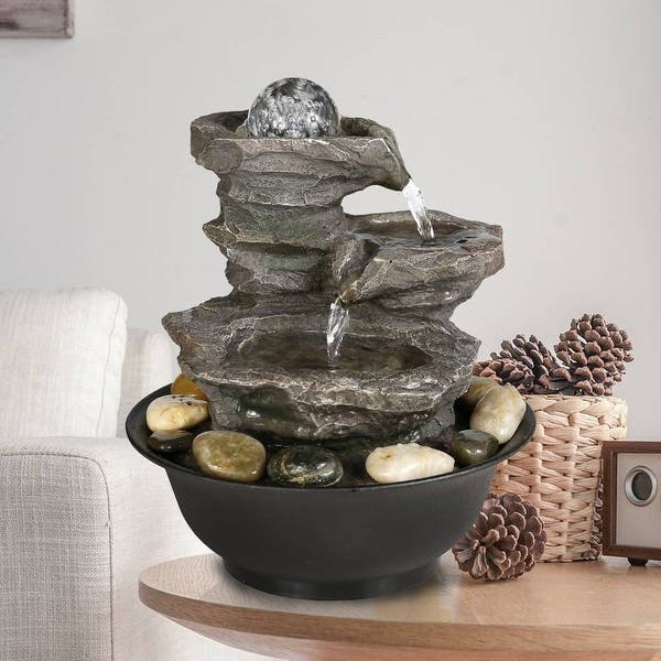 Shop 4-Tier Cascading Resin-Rock Falls Tabletop Water Fountain .
