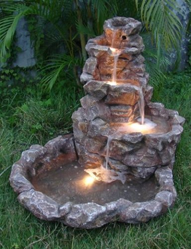 outdoor solar powered fountains | Backyard water fountains, Water .