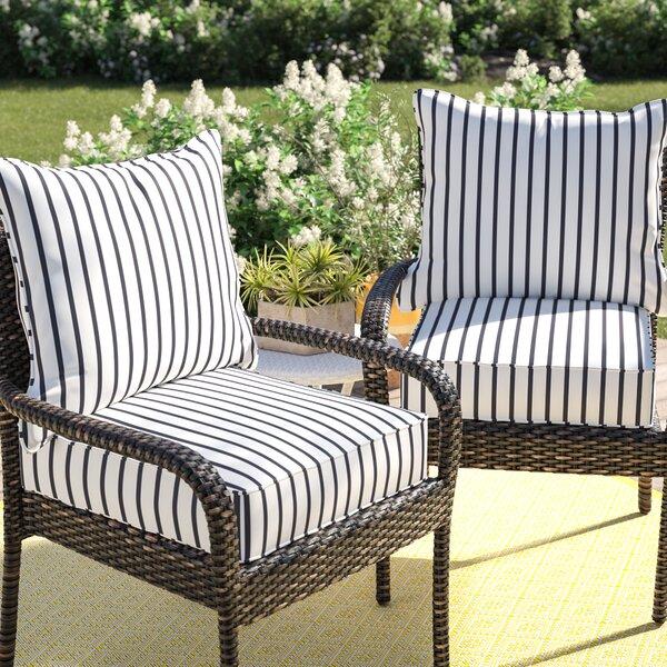 Mercer41 Whitten Stripe Indoor/Outdoor Sunbrella Lounge Chair .