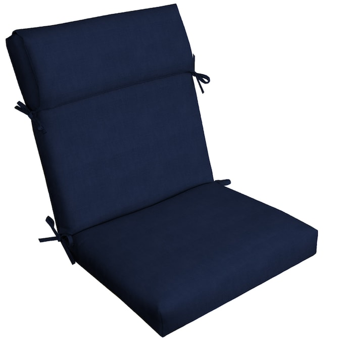 allen + roth Madera Linen Navy High Back Patio Chair Cushion in .