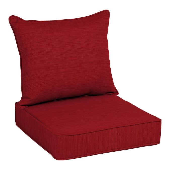 allen + roth 2-Piece Cherry Red Deep Seat Patio Chair Cushion in .
