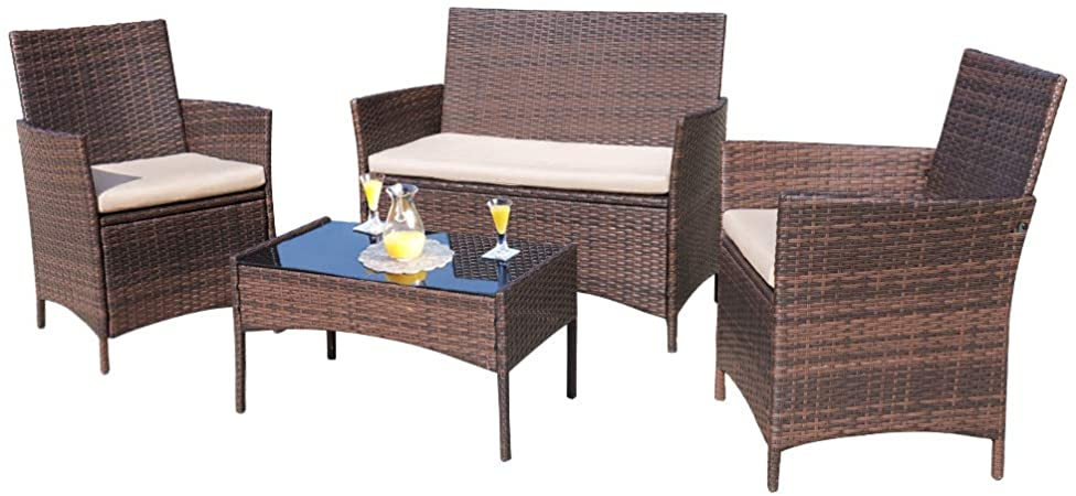Amazon.com : Homall 4 Pieces Outdoor Patio Furniture Sets Rattan .