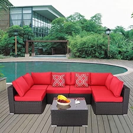 Amazon.com: Furnimy 7 Pieces Patio Furniture Sets Outdoor .