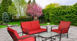 Mainstays Stanton 4-Piece Patio Furniture Conversation Set, Red .