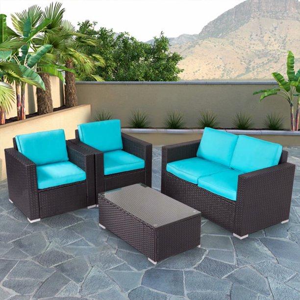 Kinbor 4pcs Outdoor Patio Furniture Pe Rattan Wicker Rattan Sofa .