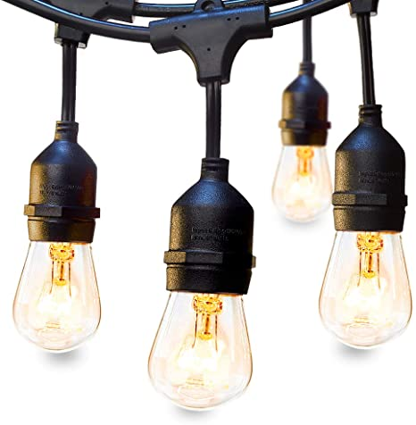 48 FT ADDLON Outdoor String Lights Commercial Grade Weatherproof .