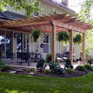Pergola off the house | Backyard, Backyard patio, Backyard pergo